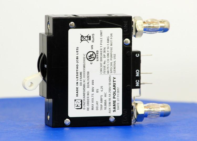D2ALX20350 (1 Pole, 5A, 80VDC, Plug-In Terminals, Series Mid-Trip w/alarm, UL Listed (UL 489))