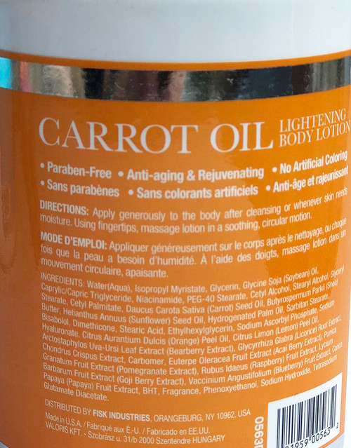 Skin Lightening Body Lotion With Carrot Oil