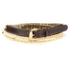 Janviere Leather Belt in Brown with Gold accent