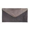 Chapa hairy snake print leather clutch in brown