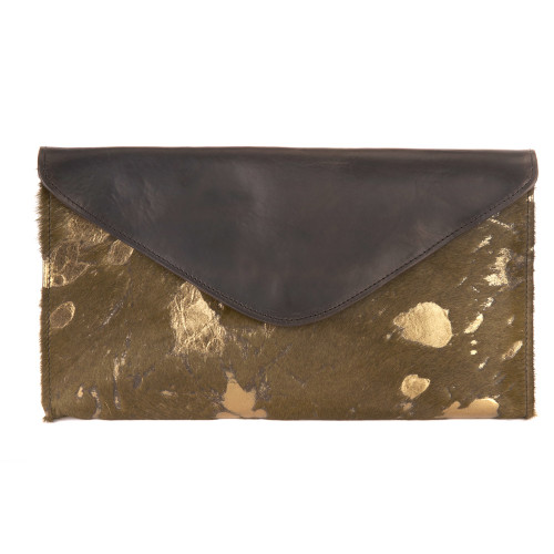 Chapa Leather hair-on clutch in hairy olive/gold