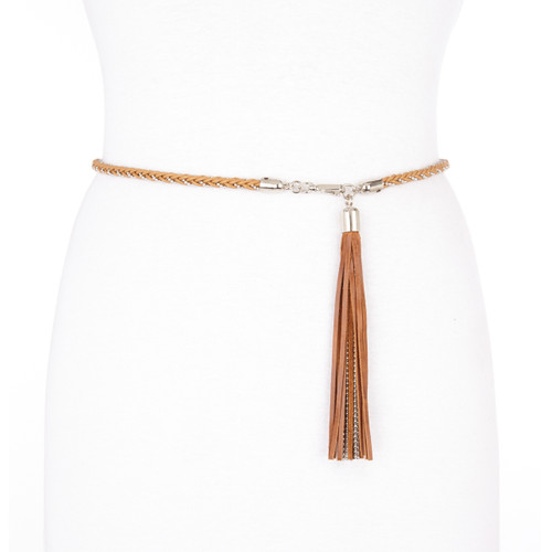 Bellatrix braided leather belt with tassel in natural