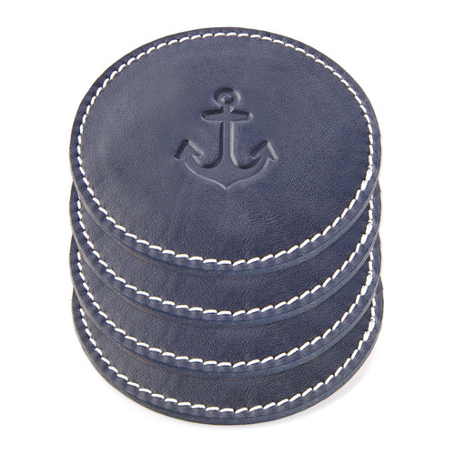 Set of 4 Leather Anchor Coasters