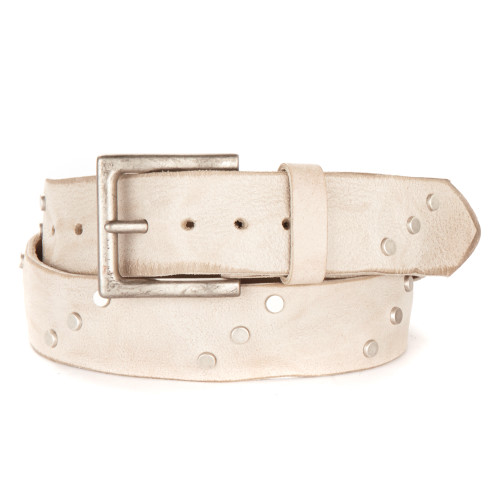 Currier Studded Leather Belt in Bone