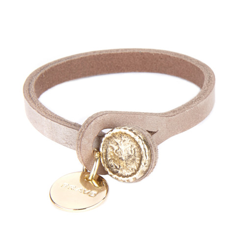 EMBER V3 LEATHER PENDANT BRACELET IN TAUPE/GOLD