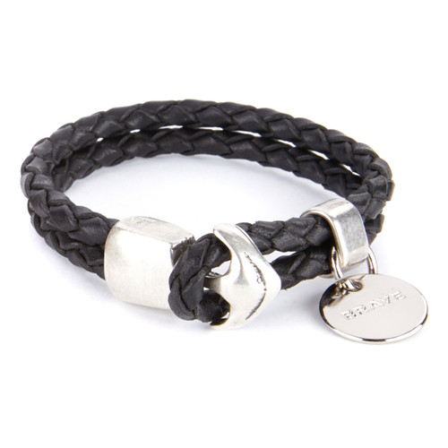 Nobel Braided Leather Cuff in Black