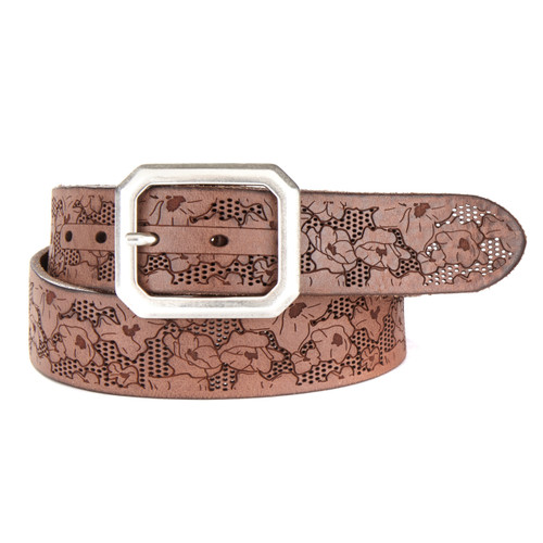 Dev Laser Cut Denim Leather Belt in Marone
