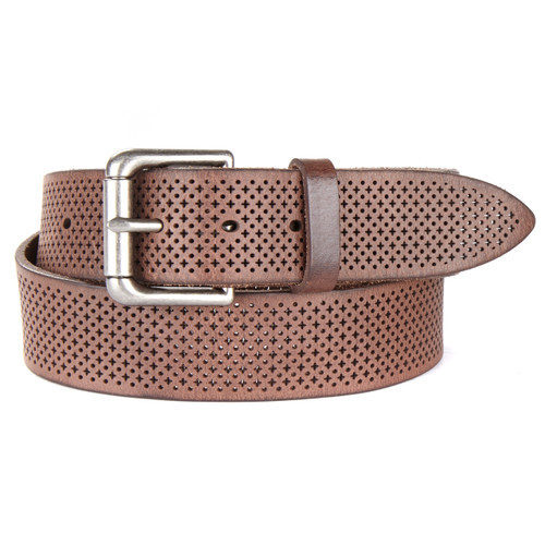 Cal Laser Cut Denim Leather Belt in Marone