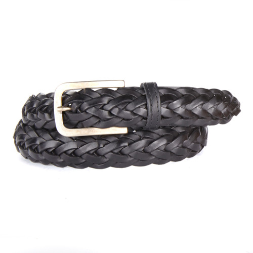 Mendi Braided Leather Belt in Black