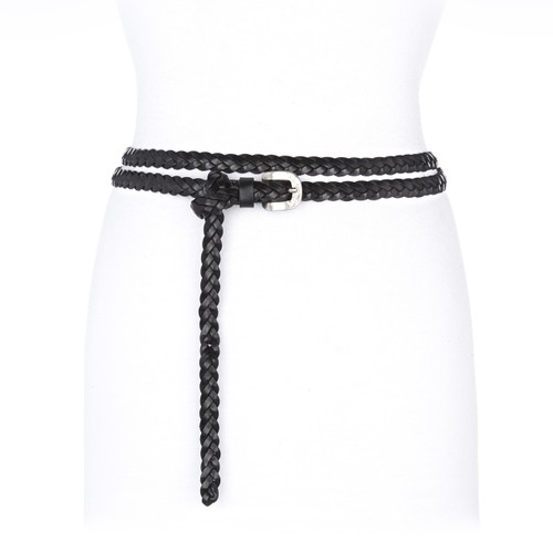 Misha braided leather belt in black
