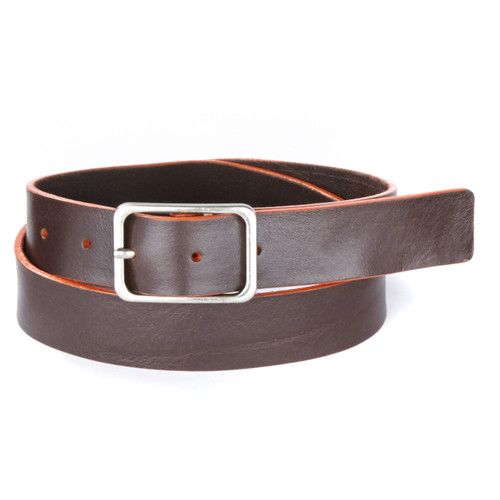 Elon Leather Belt in Brown/Orange