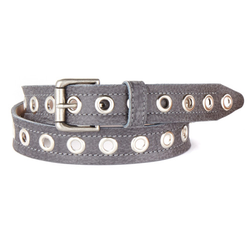 Zia Leather Belt in Charcoal Buffalo