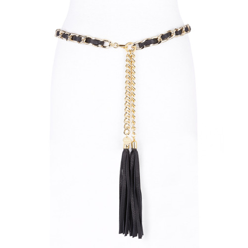 Saira leather chain belt in black & gold