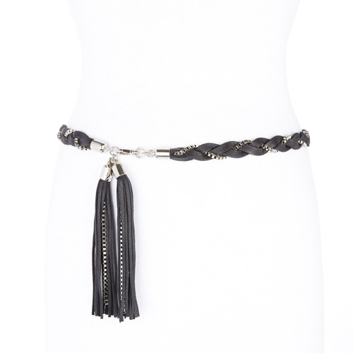 Sami leather chain belt in black & silver