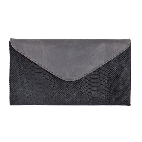 Chapa hairy snake print leather clutch in black