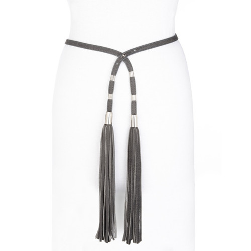 Marao Double Fringe Tassel Leather Belt in Charcoal Buffalo
