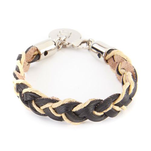 TUYET BRAIDED LEATHER CUFF IN BLACK