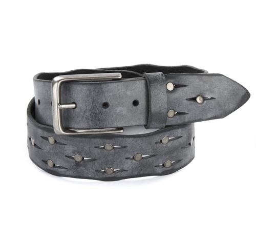 Eamin Leather Belt in Thundercloud