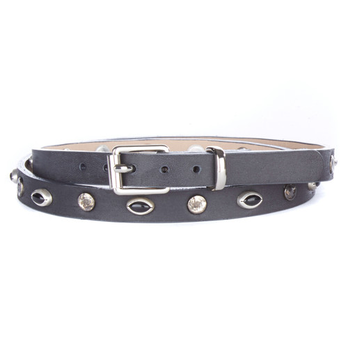 Genia Skinny Studded Belt in Smoke