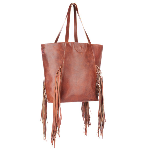Pixie fringed tote in cognac rugby leather