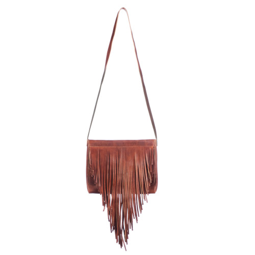 Jurgen Fringe Rugby Leather Crossbody in Cognac