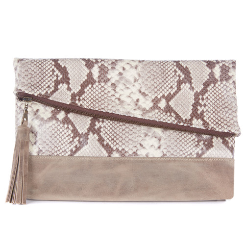 Dentali Clutch in Taupe Snakey