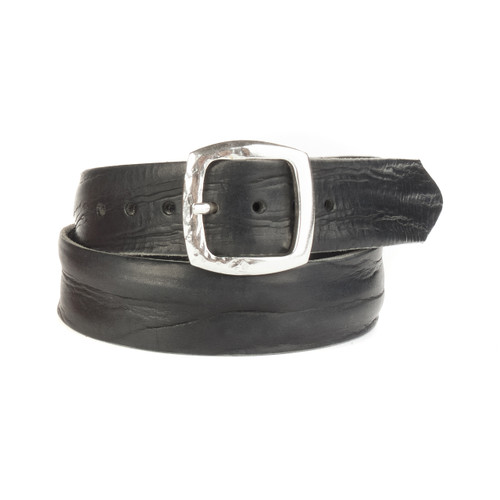 Cai Denim Belt in Black Skrunchy Leather