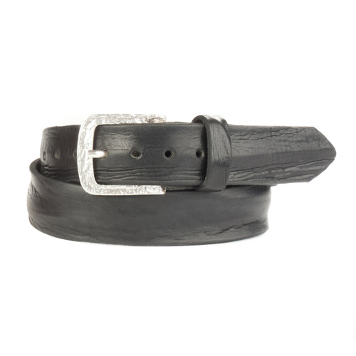 Bao Denim Belt in Black Skrunchy Leather