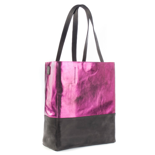 SALOSO METALLIC LEATHER TOTE