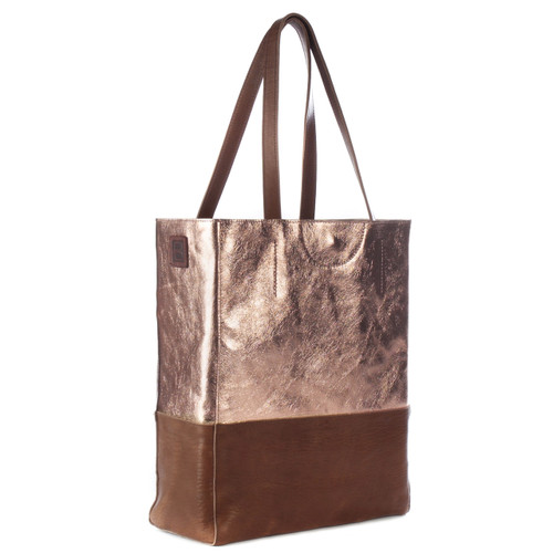 Saloso Metallic Leather Tote in Rose Gold