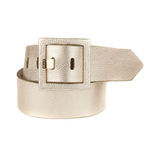 Ailda metallic belt in iGold leather