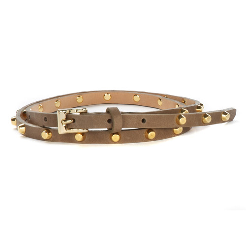 Avis Studded Skinny Nappa Leather Belt for Women in Dusk