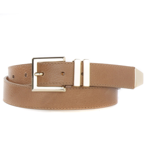 Mina Newport Leather Belt for Women in Tawny