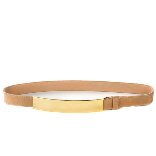 Carine Skinny Metallic belt for women in Nude/Gold