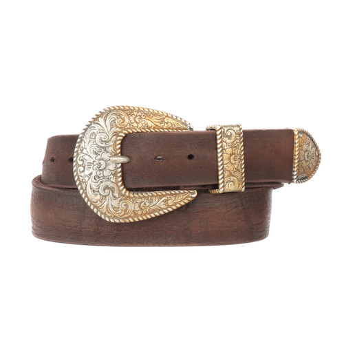 Undina Leather Belt for Women in Raw Washed Brown