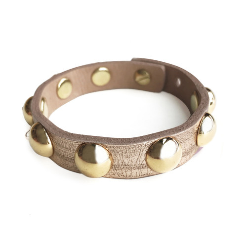 Kbo Studded Metallic Leather Bracelet in Rose Gold