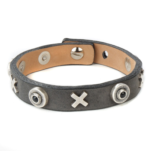 Grair Studded Leather Cuff in Smoke