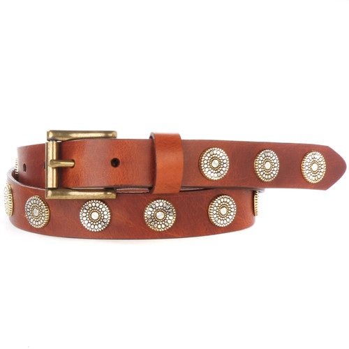 Bellsie Studded Belt in Brandy