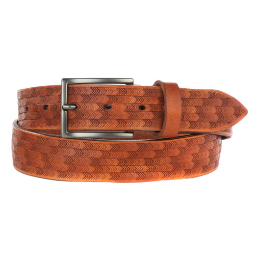Zifa Laser Cut Belt in Cognac