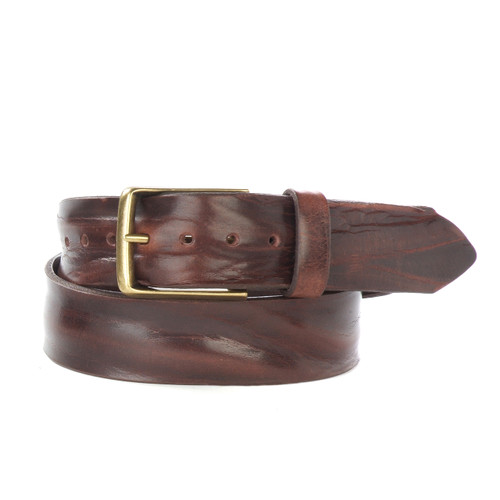 Otes Belt in Brown Skrunchy Leather