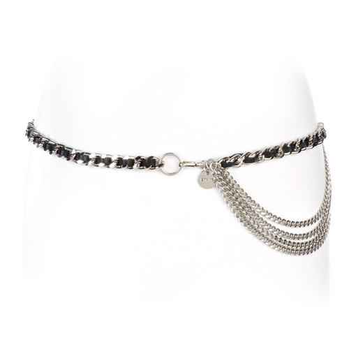 Women's Katina Leather Chain belt in Black/Silver