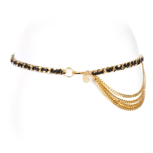 Women's Katina Leather Chain belt in Black/Gold