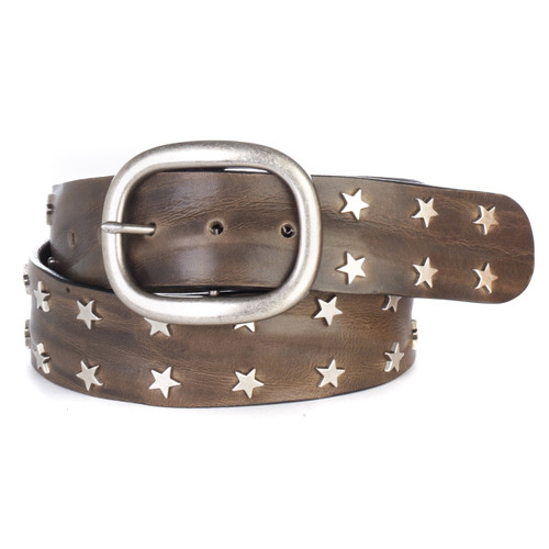 Miri Star Studded Leather Belt in Greystone Skrunchy