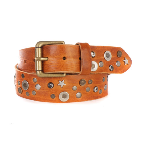Whetu Denim Belt in Cognac Skrunchy
