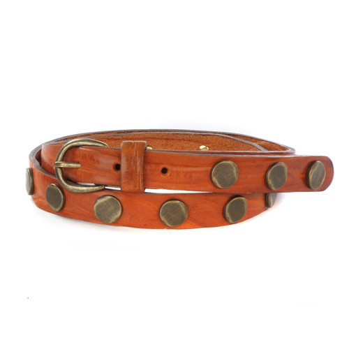 Women's Seydou Studded Skinny Leather Belt in Cognac Skrunchy