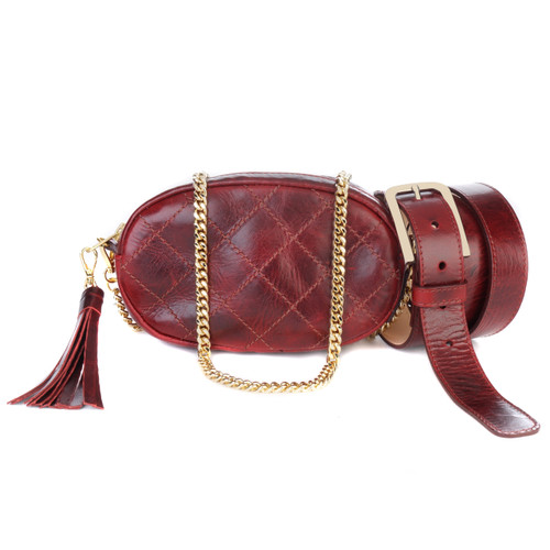 Women's Venice 3-in-1 Leather Bag/Belt in Rosewood