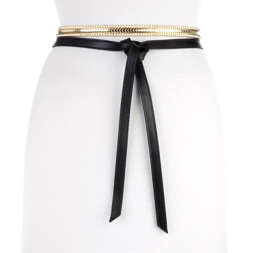 Women's Anje Leather Belt with Gold Chain