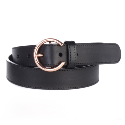 Zona Women's leather belt in Black Milled with Rose Gold Hardware