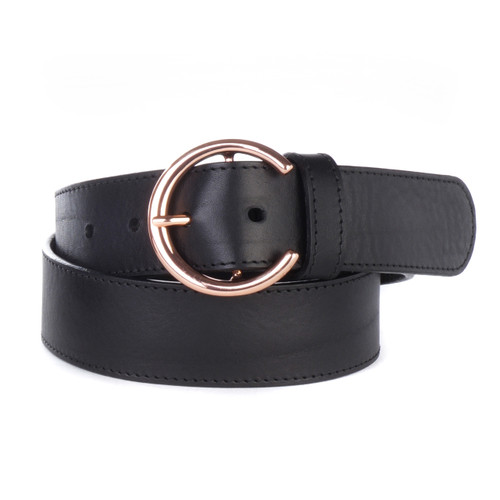 Caprina Women's Milled Leather Belt in Black/Rose Gold