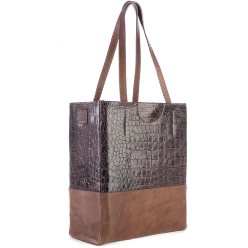 Saloso Croc-Embossed Leather Tote in Brown